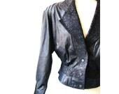 Black Leather Jacket  / Retro Glam 1980s Paisley Black Leather Jacket Coat
