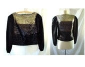 vintage 1960s Glam Rock Sequin Blouse Top