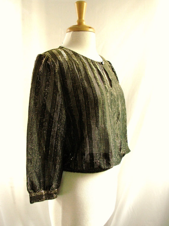 SALE vintage 80s Shimmy Black and Gold Blouse Top Shirt / holiday glam blouse