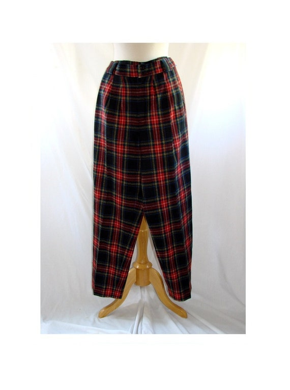 SALE 80s Preppy PLAIDS high waist pleated wool trousers Size 6