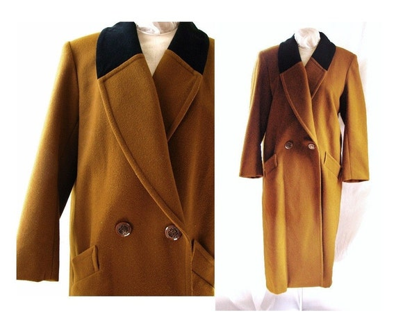 R E S E R V E D .. vintage Bronze Brown Felt Wool Coat size 12