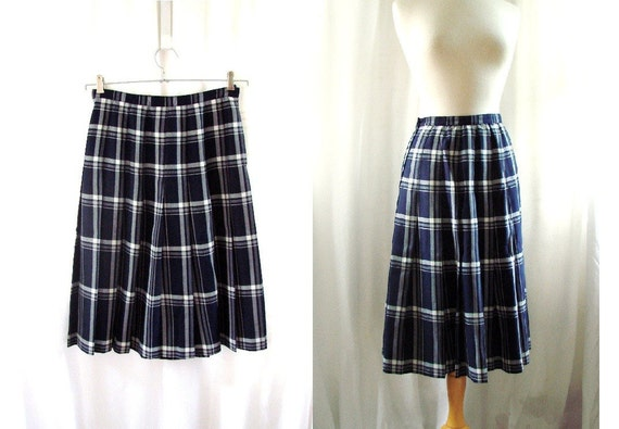 navy blue pleated skirt vintage 80s preppy navy by