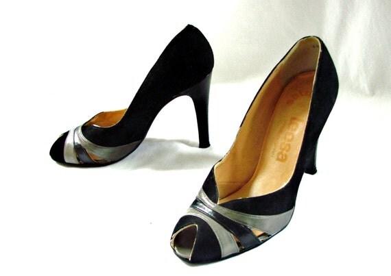 50s shoes / 1950s peeptoe heels / 50s Black Grey Suede Heels Pumps Shoes size 6 1/2 B