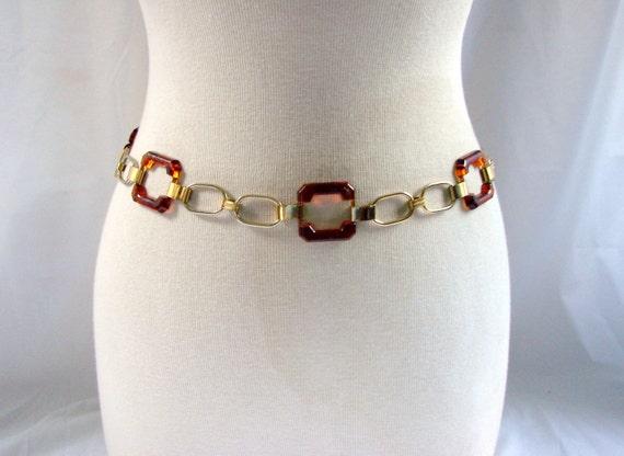 SALE Chain Belt / vintage Brown Tortoise Gold Chain Belt wearable art