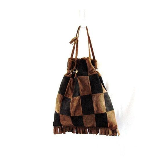 vintage Boho Suede Leather Fringe Bucket Drawsting Bag Tote Purse