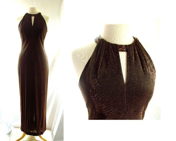 1980s Wiggle Dress / vintage 80s Brown Beaded Wiggle Evening Dress Gown