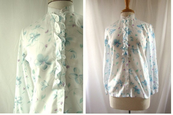 RESERVED Spring Blouse // 1980s Flower Blouse / vintage 1980s Garden Ruffle Collar Blouse
