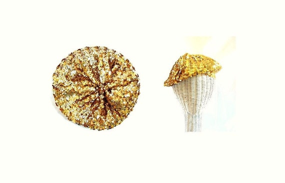 Gold Sequin Beret / vintage Glam Rock Gold Sequin beret cap hat Tam