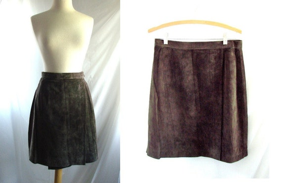 Brown Suede Skirt /  vintage 1980s Brown Suede Leather Wrap Skirt size 10