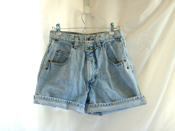 SALE Faded Blue Jeans Denim Shorts /  vintage 1980s Denim Zena Jeans High Waist Shorts size 8