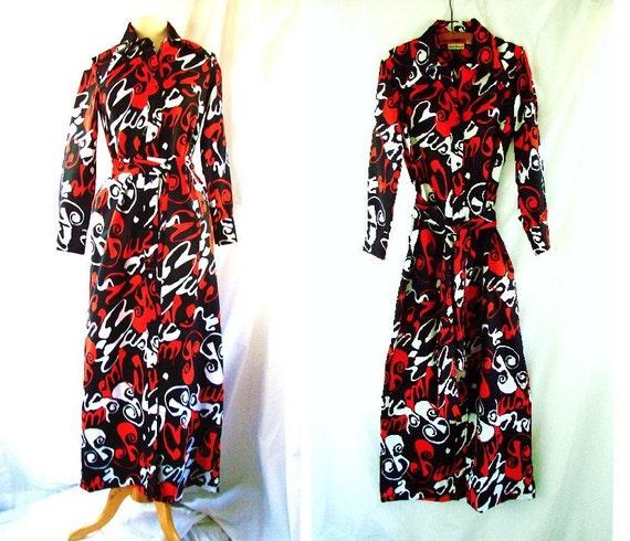 1970s Maxi Dress /  vintage 70s long dress / Retro Mod Dress  size 10