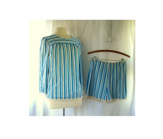 60s Pajama Game Set Lingerie  / vintage 1960s Blue Candy Bridal fun