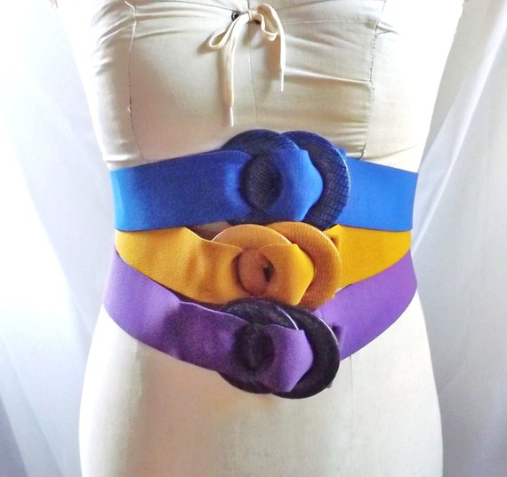 3 stretchy cinch Belt / 1980s vintage Blue Yellow Purple Black stretchy wide belt wearable art Set of 3