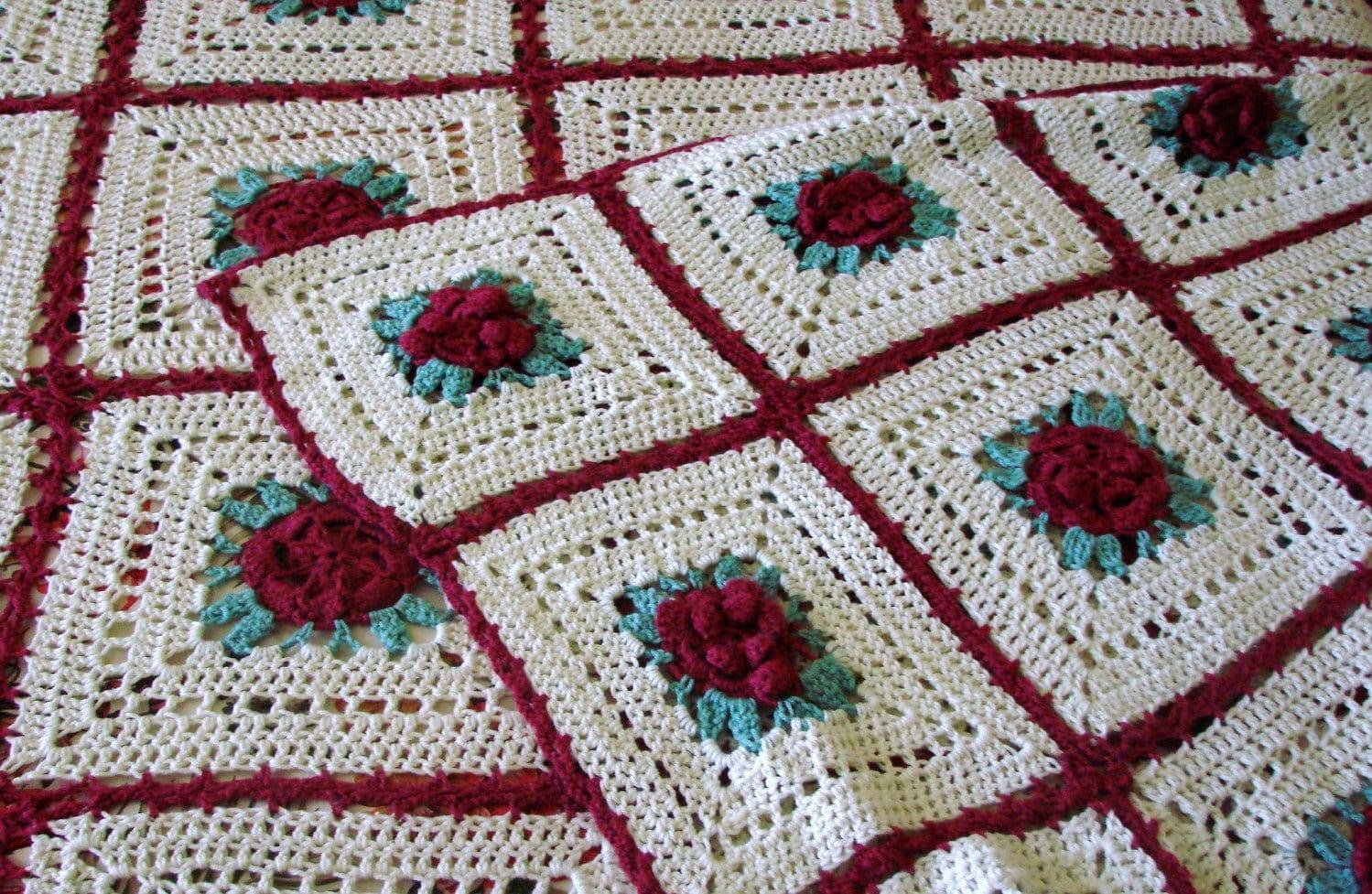 Red Irish Rose Crocheted Bedspread Afghan // King Queen