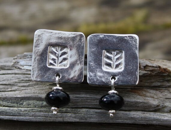 Tile Earrings , handmade silver and onyx studs