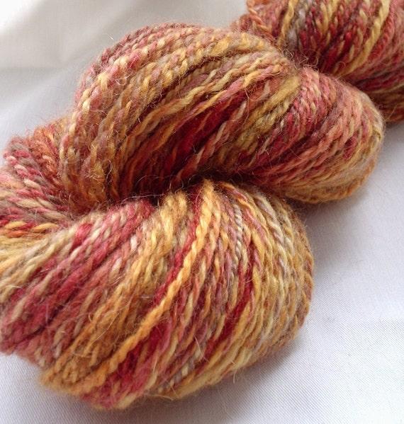 Handspun Yarn, Handpainted BFL/Mohair Mix, 2 Ply - Satsuma Daze