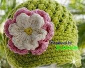 SALE...Newborn - 3 month Apple Green Visor Beanie with flower - Pastel Pink, Cream, Yellow