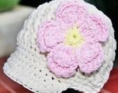 SALE...Newborn - 3 Month Cream Visor Beanie with flower - Pink, Pink, Yellow