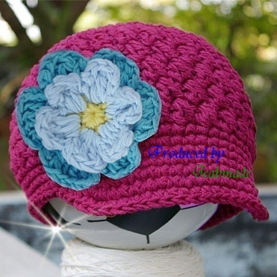 3-6 month Hot pink Visor Beanie with flower - Hot Blue, Light Blue, Yellow