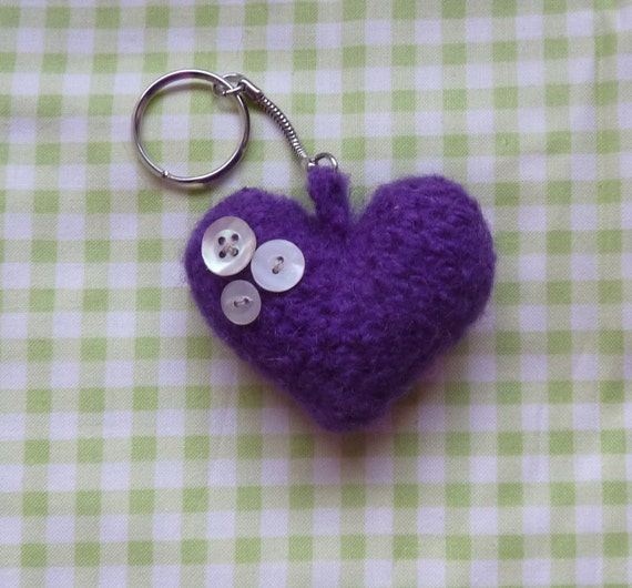 FELTED WOOL KEYFOB.. Puffed, purple heart with vintage Mother of Pearl buttons..... Ready to ship...