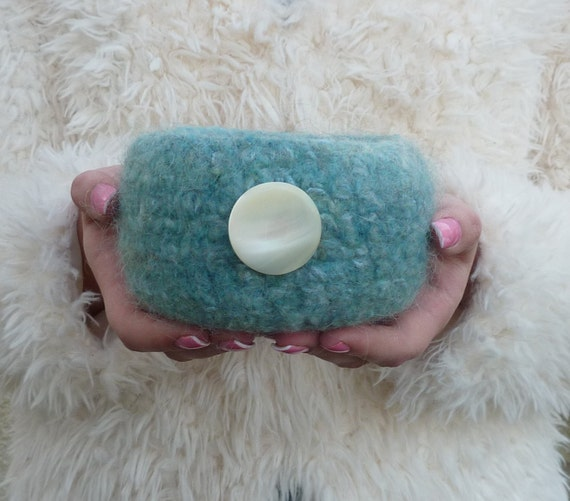 FELTED bowl, ' Silvery Moon ' (a blue / green blend )  with large , vintage  Mother of Pearl button embellishment. ...ready to ship...