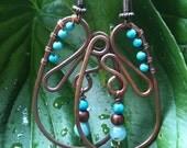 Gemstone Hammered Copper Earrings WATERFALL