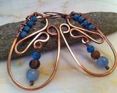 Hammered Copper Gem Earrings RAIN DROPS