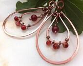 Hammered Copper Gem Earrings PRIMADONNA ROUGE