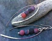 Silver Hammered Gemstone Earrings CAPSICUM