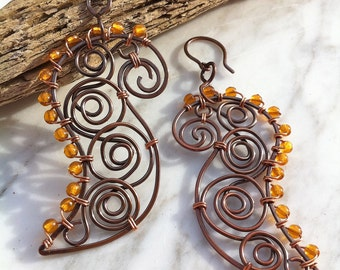 Copper Earrings FERAL PAISLEY