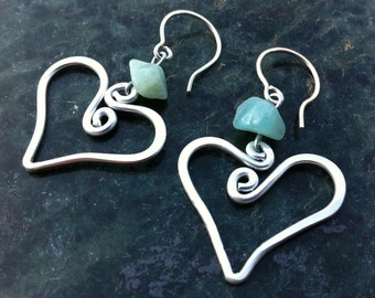 Teal Heart Hammered Earrings ~ Beach jewelry ~ Summer Jewelry ~ Teal Earrings