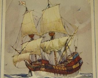 SALE! 50% OFF Vintage Gordon Hope Grant lithograph, An Elizabethan Ship of 1588