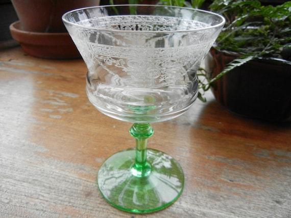 Vintage Green Depression Glass Sherbet