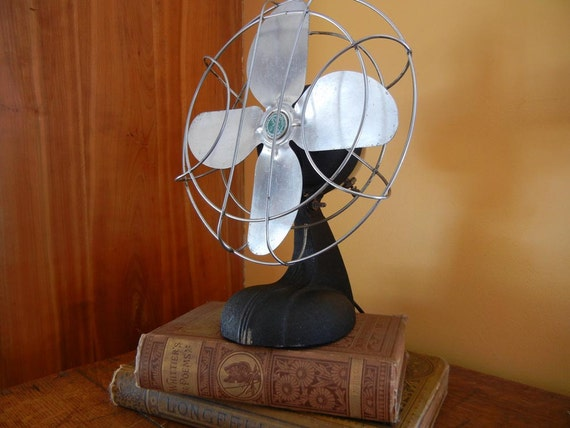 RESERVED FOR LEILAROSA  Vintage Sterling Electric Fan with cast iron base