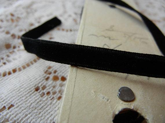 Vintage French Black Velvet Ribbon