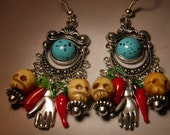 Day of the Dead Earrings, Carved Bone Skull Jewelry, Frida Kahlo Hands Chili Peppers Dia de los Muertos Goth Halloween Earrings Rockabilly
