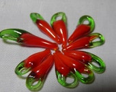 75 Hot Chili Pepper Beads, 15mm Artisan Handmade Lampwork Glass Pepper Charms, Day of the Dead Jewelry, Hand Blown Glass USA
