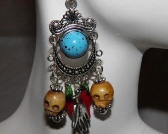 Day of the Dead Earrings, Bone Skulls, Frida Kahlo Hands, Dia de los Muertos Earrings, Day of the Dead Jewelry, Goth Halloween Earrings OOAK