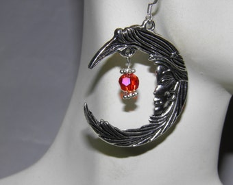 Crescent Moon Earrings, Goddess Jewelry, Sterling Silver Fire Element, Red Swarovski Crystals, Moon Halloween Earrings, Wiccan Jewelry