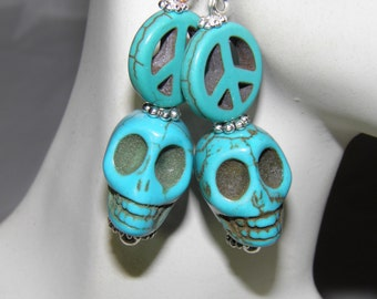 Day of the Dead Earrings, Sterling Silver and Blue Turquoise Frida Kahlo Sugar Skull Earrings, Peace Sign Hippie Jewelry, Halloween Earrings
