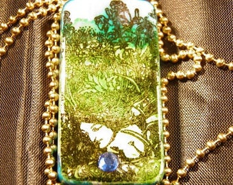 Fairy Necklace, Hand Painted Sky Blue and Forest Green Fairy Jewelry, Steampunk Necklace, Wiccan Jewelry, Hand Painted Green Fairy Art OOAK