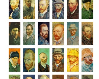 """Vincent Van Gogh Self Portraits Art Paintings Digital Collage Sheet Domino Tile Size 1"""" x 2"""" inch 25mm x 50mm No.1 Instant Download"""