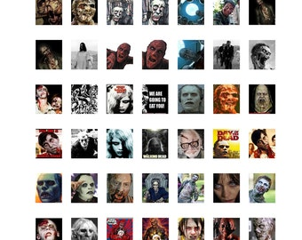 "Zombie Collage Sheet,  Zombie Instant Download, Zombie Digital Collage Sheet, Scrabble Tile Size .75"" x .83"",  19x21mm Halloween Collage  #2"