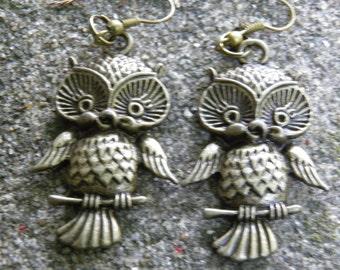 Owl Earrings, Antiqued Bronze Steampunk Jewelry, Owl Jewelry, Bird Earrings, Bronze Owl Charms, Bronze Bird Jewelry, Steampunk Earrings