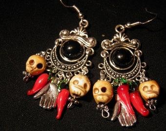 Day of the Dead Earrings, Sterling Silver Skull Earrings, Frida Kahlo Day of the Dead Jewelry, Dia de los Muertos, Halloween Earrings Goth