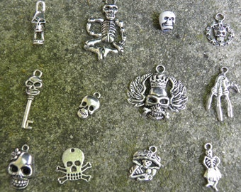 Day of the Dead Charms, 12 Halloween Charms, Silver Skull Jewelry, Dia de los Muertos, Skeleton Charms for Earrings and Bracelets, Charms