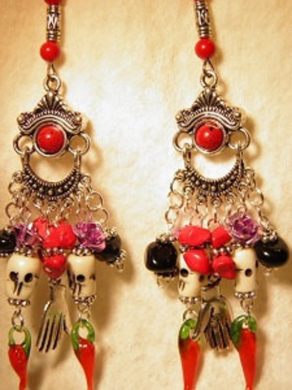 Day of the Dead Earrings, Sterling Silver and Pewter Bone Sugar Skull Jewelry, Dia de los Muertos Jewelry, Day of the Dead Jewelry OOAK