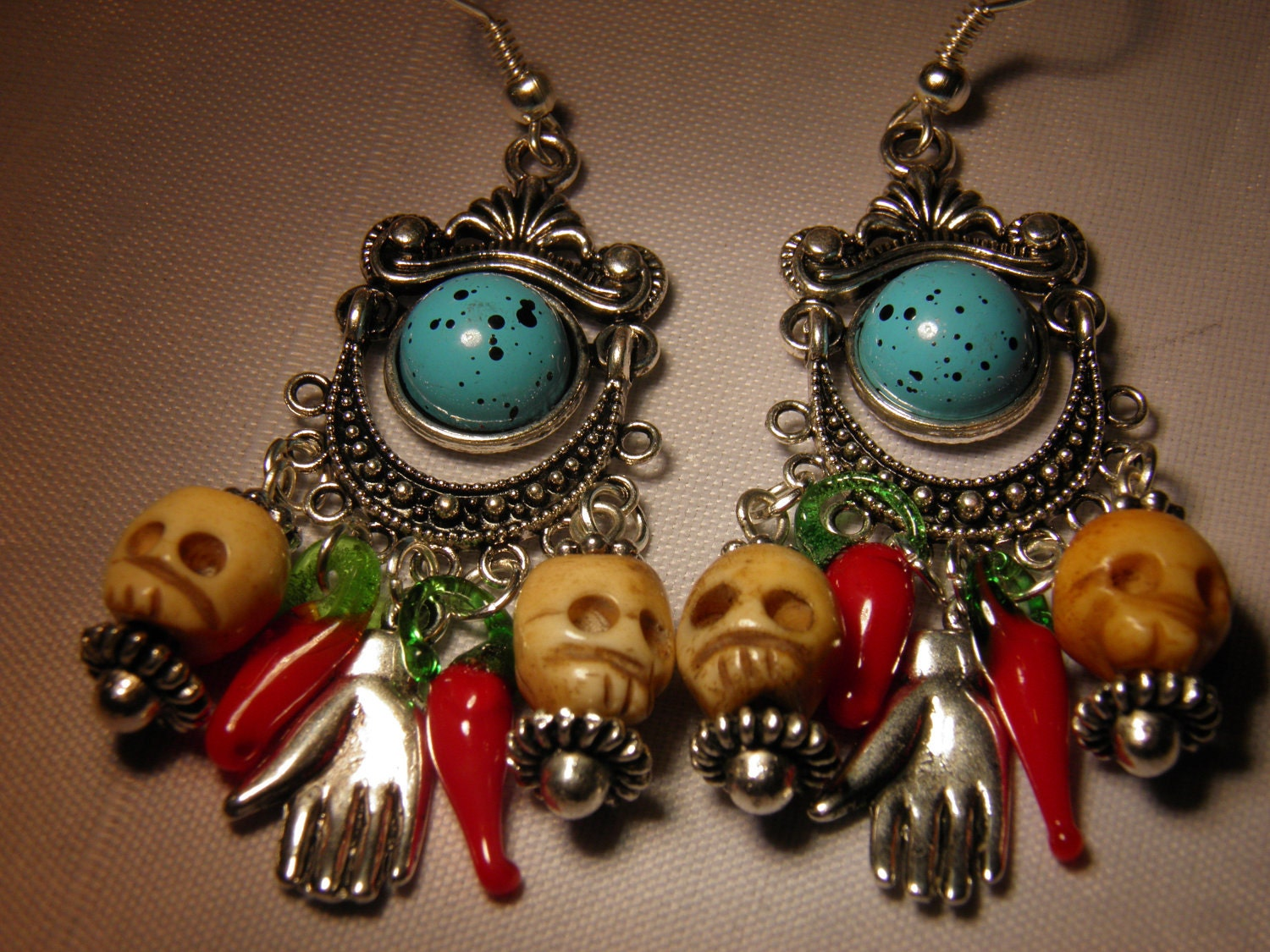 Day Of The Dead Hand Tattoo: Day Of The Dead Earrings Hand Carved Bone Skull By
