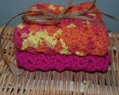 Raspberry Sorbet And Tutti- Fruitti     2 Crocheted Eco-Friendly 100 % Cotton  Kitchen Or Bath Wash Cloths