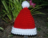 Hand Crocheted Infant And Toddler Santa Claus Christmas Beanie.     Made To Order